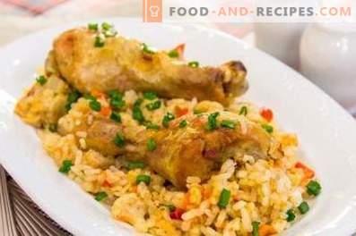 Chicken drumsticks med ris i en långsam spis