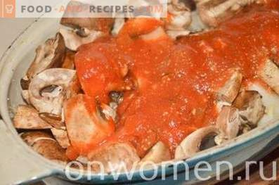 Cabbage stewed with mushrooms in the oven