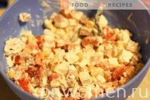 Salad with cheese, ham and corn