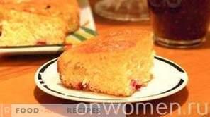 Cake with cranberries on yogurt