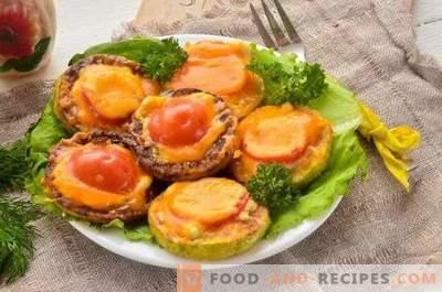 Squash assado com tomates e queijo