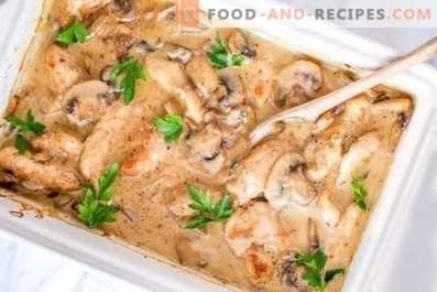 Pollo con champignons in salsa di panna